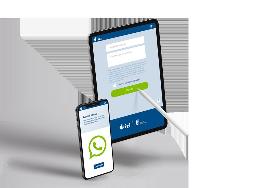 móviles y tableta con imágenes de la web y contacto